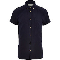 Navy blue short sleeve Oxford shirt