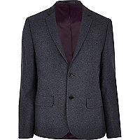 Dark blue contrast collar blazer