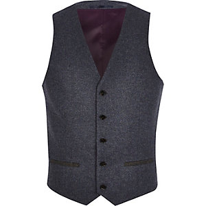 Blue single breasted vest