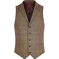 Light brown check single breasted waistcoat