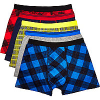 Multicoloured check boxer shorts pack