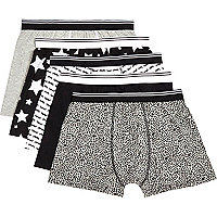 Black mixed print boxer shorts pack