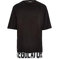 Black Panuu slogan print hem t-shirt