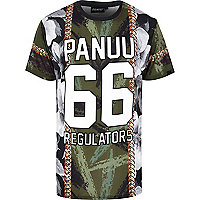 Khaki Panuu mixed print varsity t-shirt