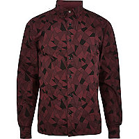 Dark red RVLT abstract printed shirt