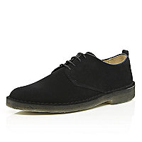 Black suede Clarks Originals desert shoes