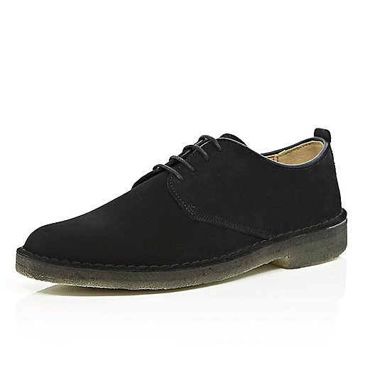 Black suede Clarks Originals desert shoes