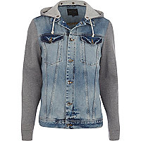 Light wash jersey sleeve denim jacket