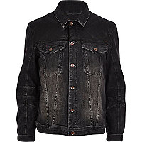 Black leather-look panel denim jacket
