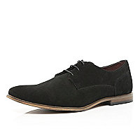 Black suede lace up formal shoes