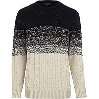 Ecru ombre cable knit jumper