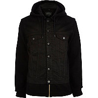 Black jersey sleeve denim jacket