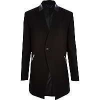 Black leather-look trim smart jacket
