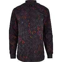Brown floral print long sleeve shirt