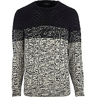 Black ombre cable knit jumper