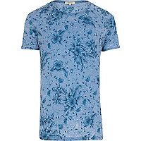 Blue burnout floral print t-shirt