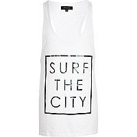 White surf the city print vest