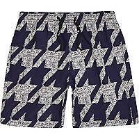 Navy dogtooth mid length swim shorts