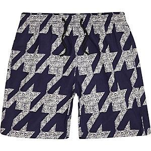 Navy houndstooth mid length swim trunks