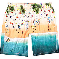 Blue beach scene mid length swim shorts