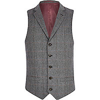 Grey check single breasted waistcoat