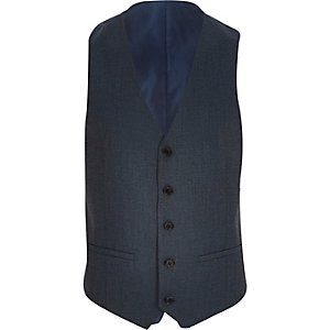 Navy blue single breasted waistcoat