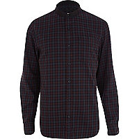 Dark red check grandad shirt