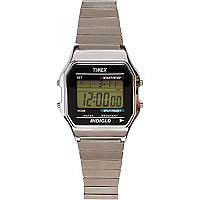 Silver tone Timex digital expander watch