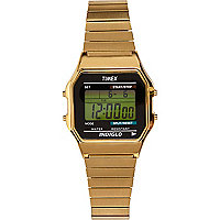 Gold tone Timex digital expander watch