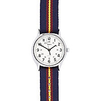 Blue Timex stripe canvas watch