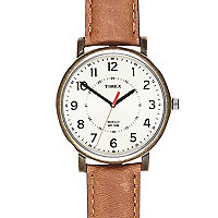 Tan Timex classic round watch