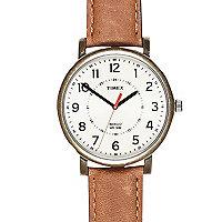 Tan Timex classic round watch