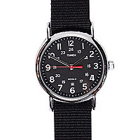 Black Timex canvas watch