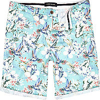 Aqua tropical print casual shorts