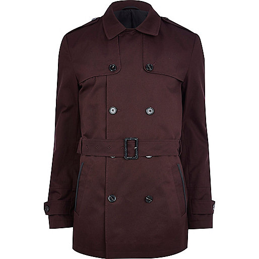 Dark red smart short trench coat