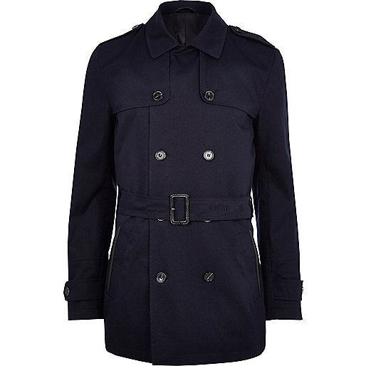 Navy smart short trench coat