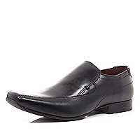 Black square toe slip on formal shoes