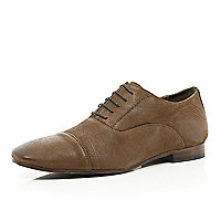 Brown leather lace up formal shoes
