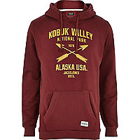 Red Jack & Jones Vintage print hoodie