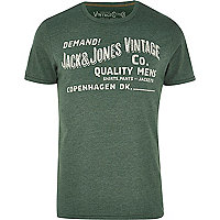 Dark green Jack & Jones Vintage print t-shirt