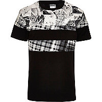 Black Systvm mixed print colour block t-shirt