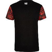 Black Systvm tartan sleeve t-shirt