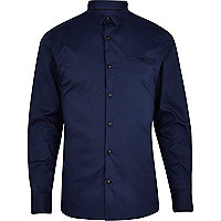 Navy skinny stretch long sleeve shirt