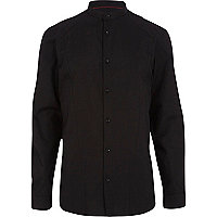 Black grandad collar long sleeve shirt