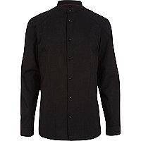 Black grandad collar long sleeve shirt