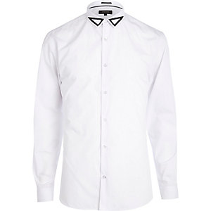 White triangle embroidered collar shirt