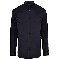 Navy triangle embroidered collar shirt
