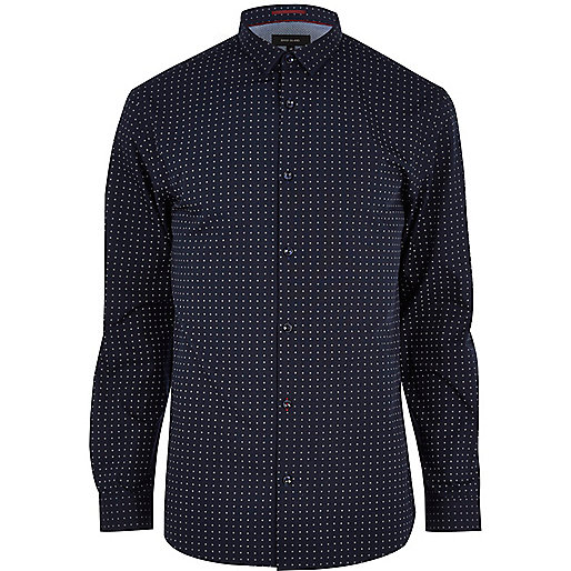 Navy spot print long sleeve shirt