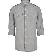 Grey check military shirt