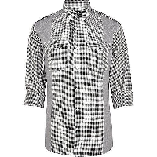 Grey check military shirt
